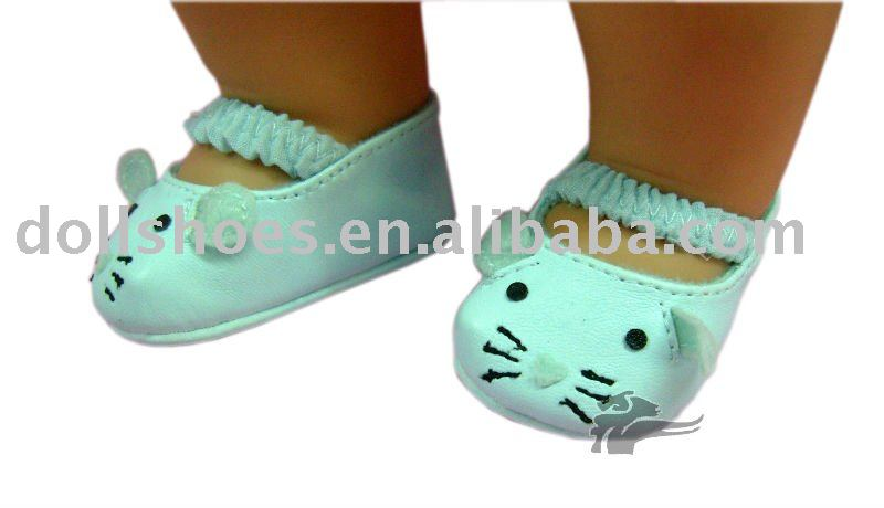 Cute Blue PU baby born doll shoes, doll dress shoes with cat pattern in doll collections