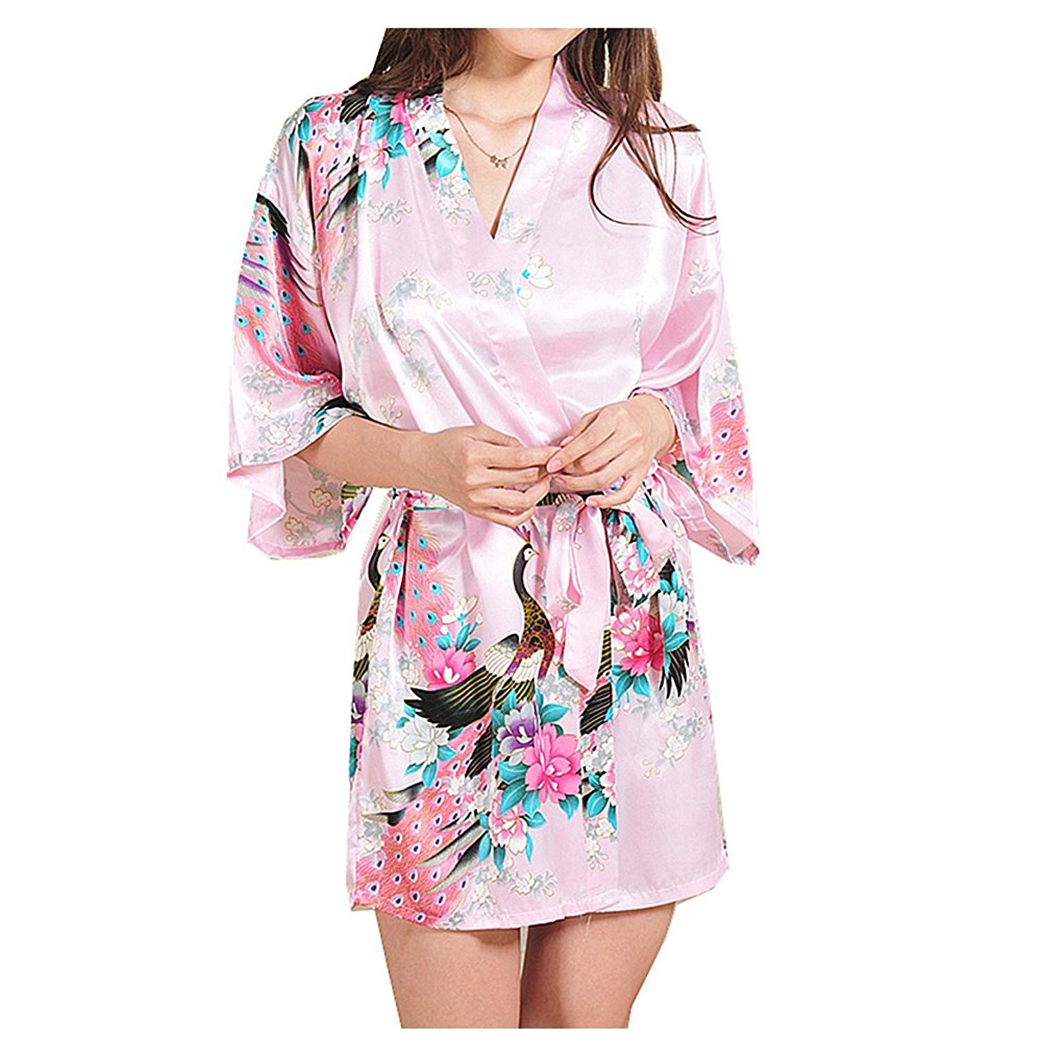 Get Quotations · Women s Short Kimono Robe Peacock Blossoms Nightgown f08d76288