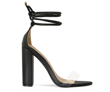 6f3cb225f1a Women Black Clear Lace Up Block Heels Women Sandals Shoes ...
