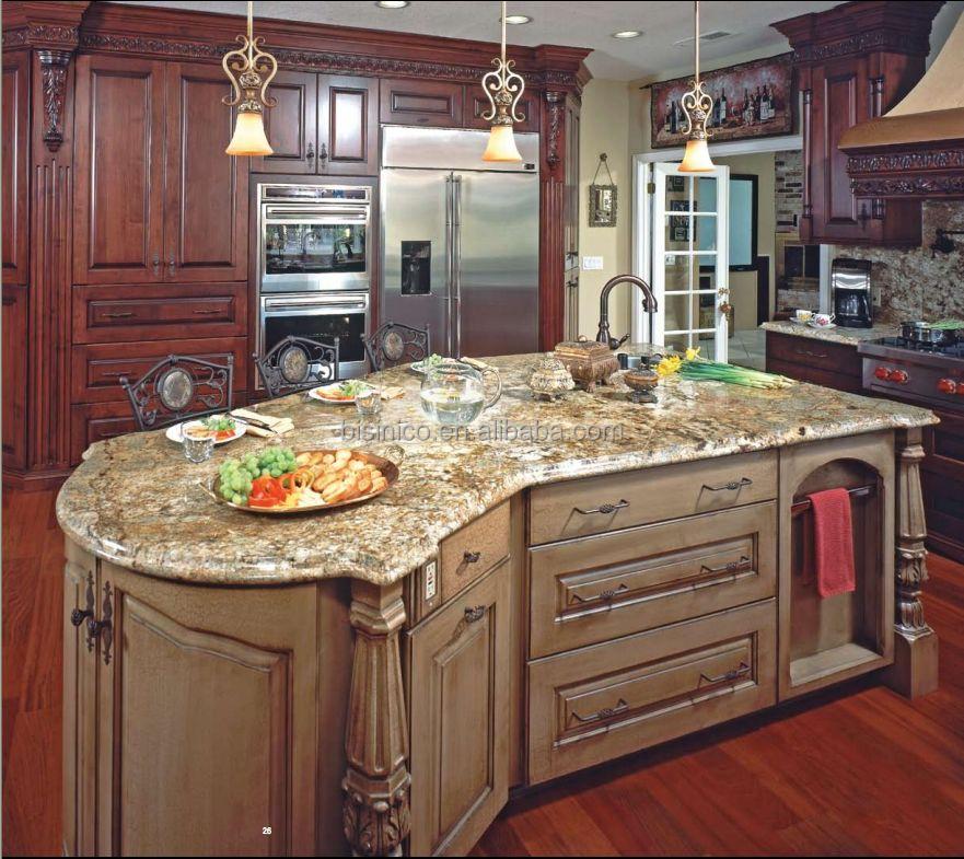 Klassieke massief houten keuken kast met kookeiland/amerikaanse ...