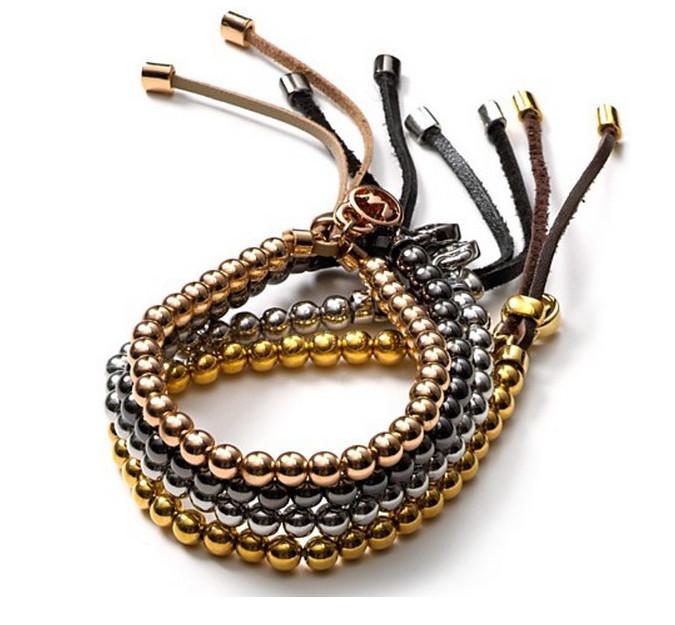 Розовое золото металл мяч бусины гибкий кожа браслеты подвески браслет браслеты роскошь kors женщины UnisexBracelet ювелирные изделия