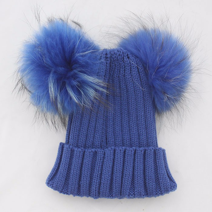 ... Myfur Royal Blue Double Raccoon Fur Pom Poms Attached Wool Knitting  Beanie Hat 666f7032461