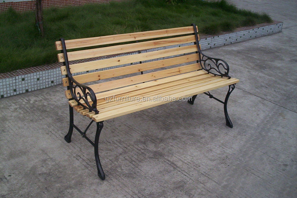 Outdoor Patio Cast Iron And Wood Garden Bench