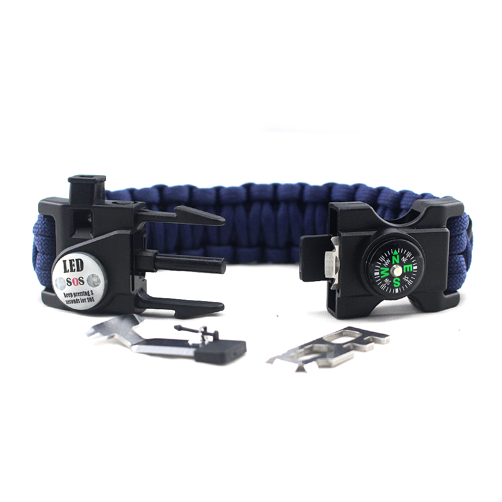 20 in 1 Functionele Survival Outdoor ongevouwen Paracord Armband met SOS LED Licht, Firestarter, Kompas, Fluitje, multitool