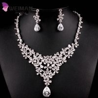 2016 New Fashion AAA+ CZ Diamond Bridal Flower Necklace and Earrings Cubic Zirconia Wedding Jewelry Sets For Brides