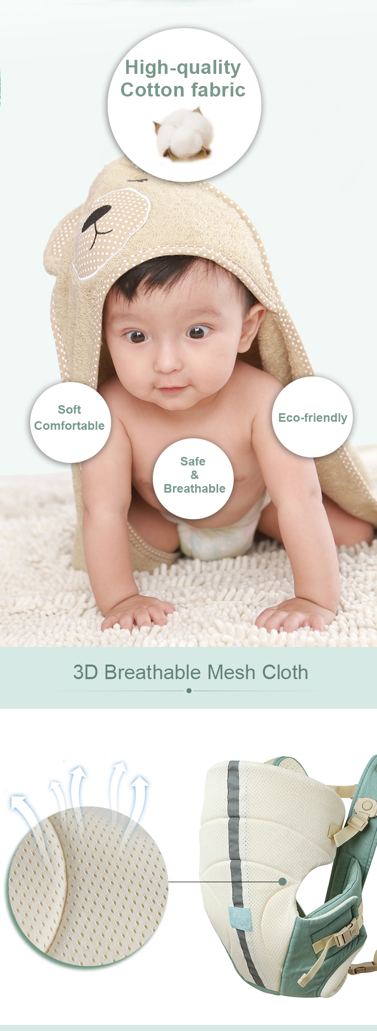 new breathable eco-friendly cotton baby sling baby carrier for newborns & toddler