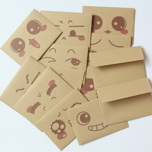 Bulk wholesale brown envelope sets cute funny emoticon pattern kraft paper envelope with letter paper
