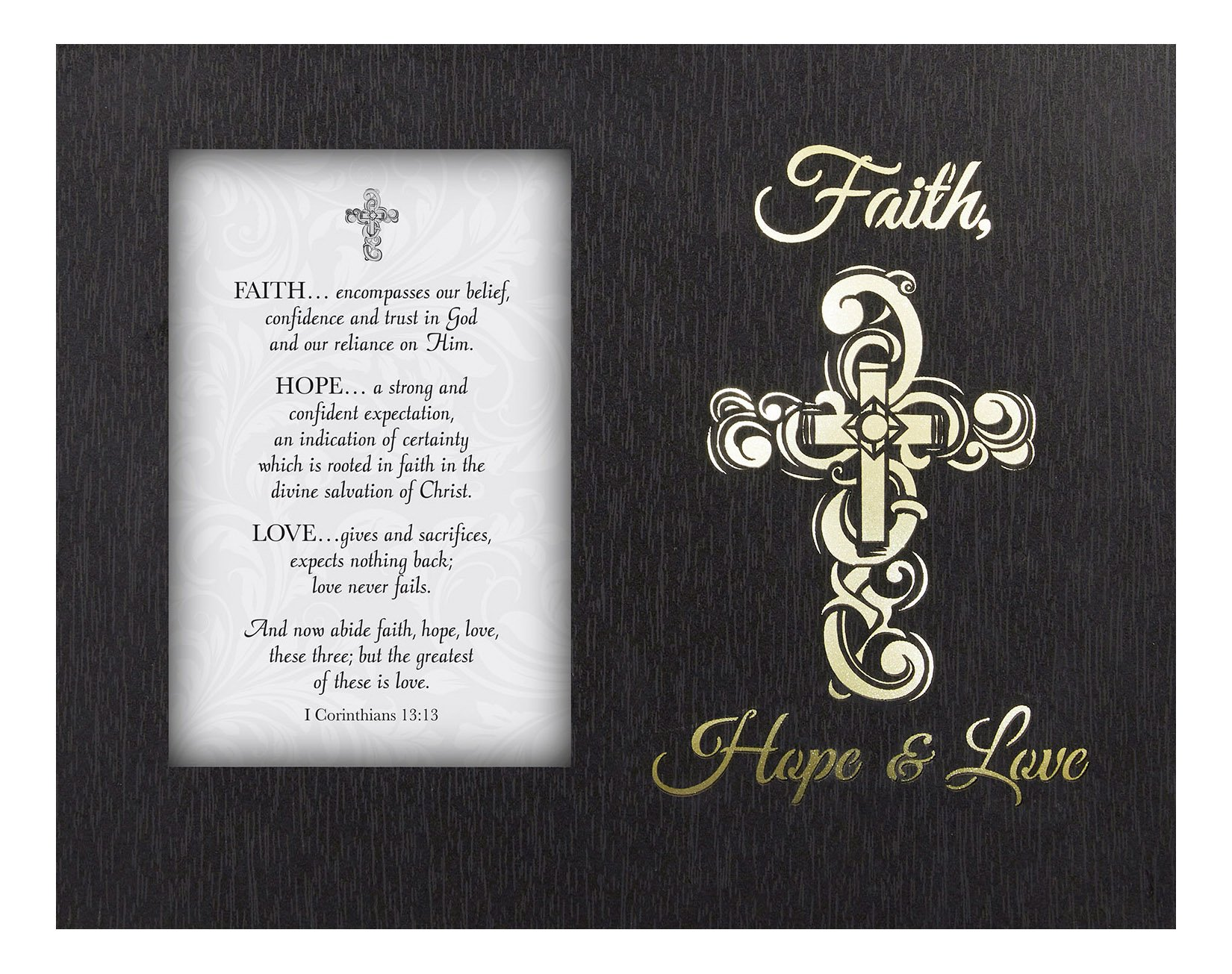 Glowing Treasures Framed Tabletop Christian Verses, Faith Hope Love