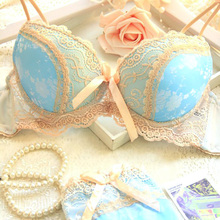 Free shipping 2016 new luxury blue satin three breasted women underwear set AB cup of adjustment plus side sexy push up bra sets