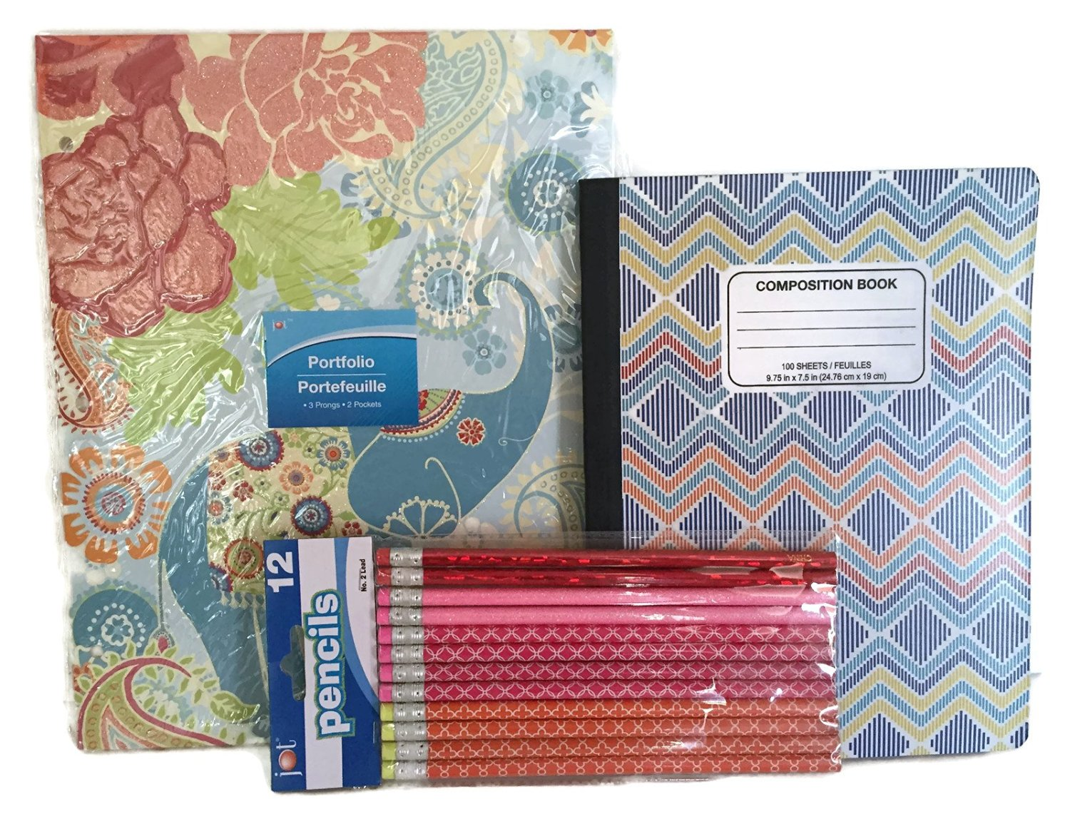 Glitter Elephant & Flower Folder Notebook Pencil School Bundle - 3 Items: One Glitter Elephant & Flower Folder, One Composition Notebook, Package of 12 Retro Pencils
