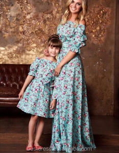 Family Dress Mother and Daughter Matching Summer Floral Vintage Dresses