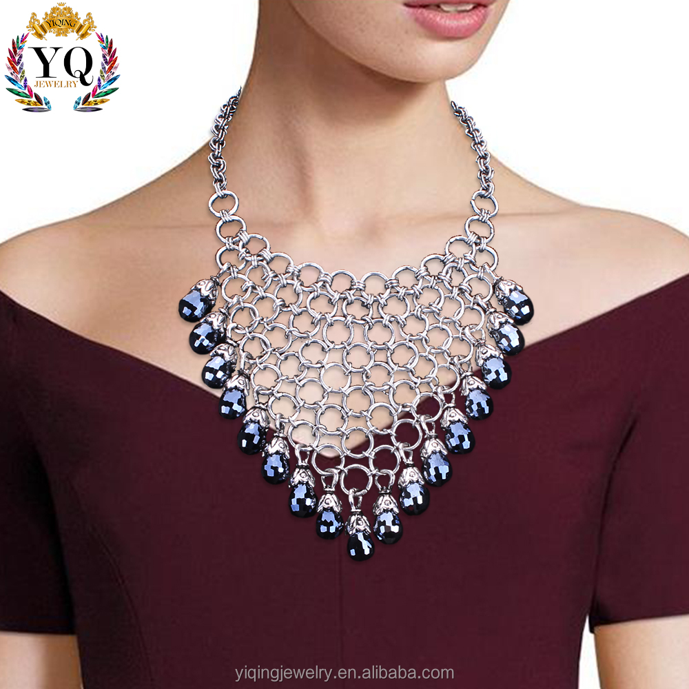 NYQ-00367-1 2017 latest design hot selling retiform design dark crystal chunky women statement necklace for anniversary gift