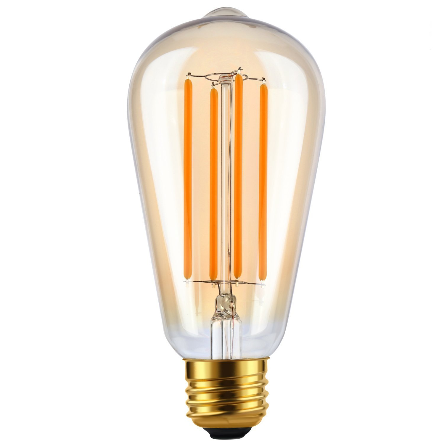 LETO ST64 Vintage Filament LED Light Bulb Dimmable [edison style][Energy Saving 4W LED- 40W Equivalent ][UL Listed[2200K Warm]E26 Based [led bulb home]][Amber Tinted Color]-1Pack