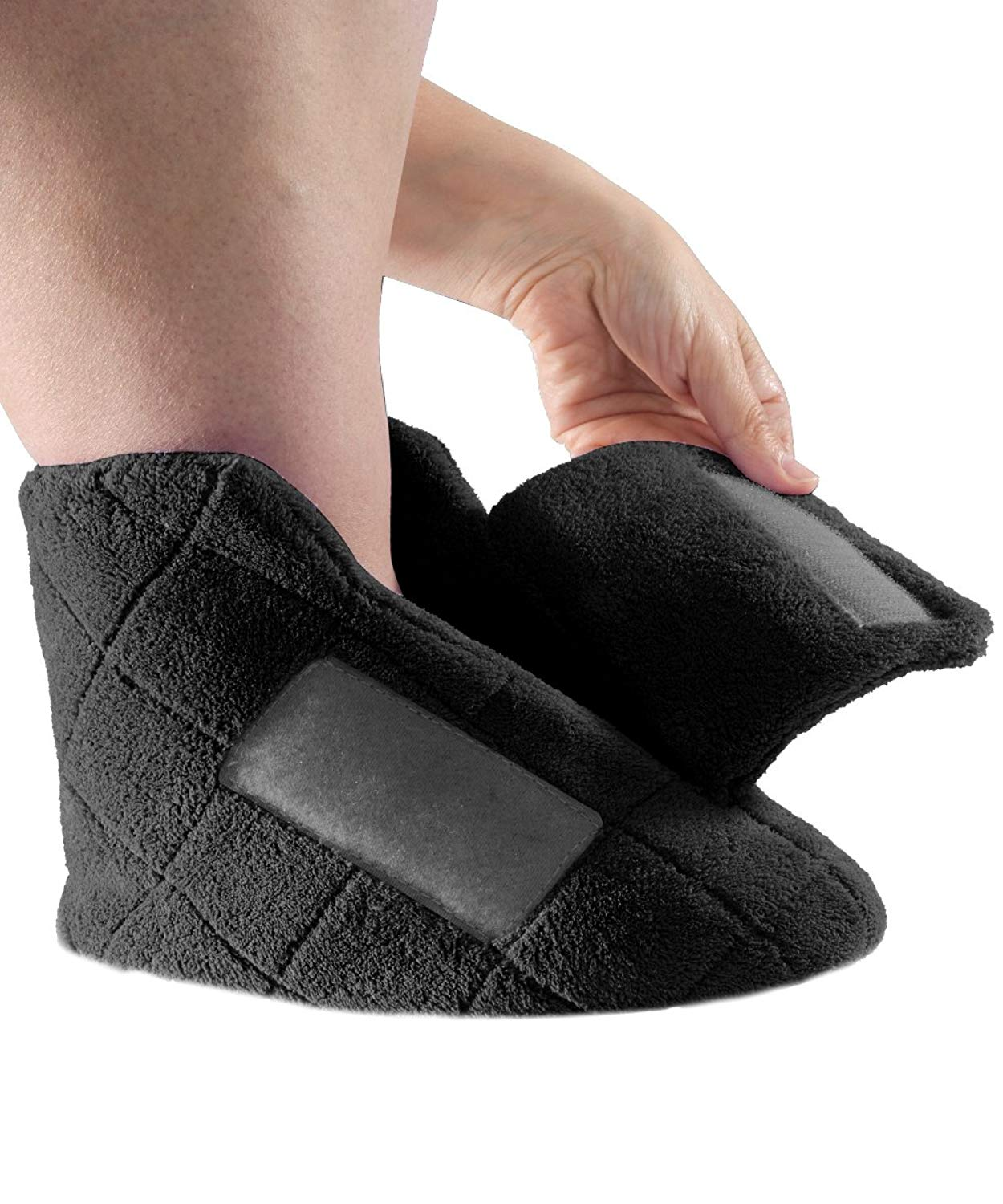 21ab1ac92bb Get Quotations · Extra Wide Swollen Feet Slippers - Soft Cozy Comfortable  and Plush Bootie Slippers