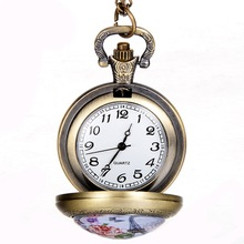 OEM New Arrive Women Fashion Luxury Watch Vintage Style Stainless Steel Pocket Watch Flowers Ladies Quartz Watch