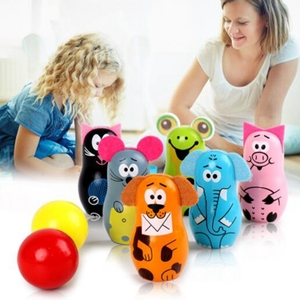 Factory wholesale Indoor play game wooden animal set bowling toy