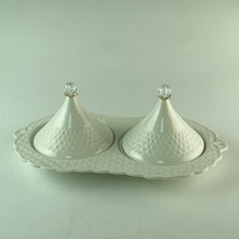 Wholesale embossed double combined white snack plate ceramic butter dish with decorative lid cover