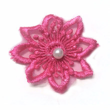 Best selling embroidered star patches with white pearl for dresses