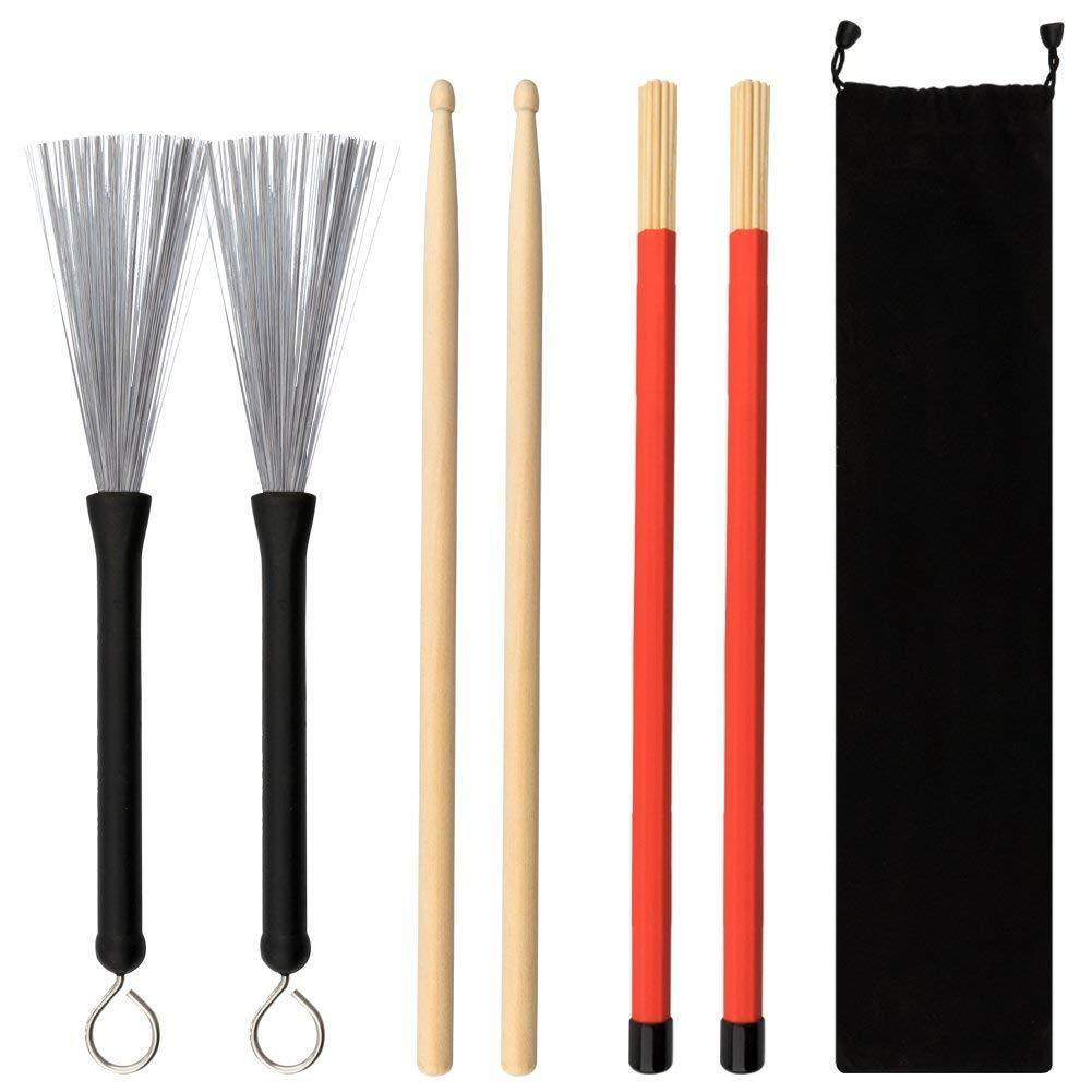 URlighting Drum Sticks Set - 1 Pair 5A Drum Sticks, 1 Pair Drum Rod Brushes Sticks, 1 Pair Drum Wire Brushes with Storage Bag for Kids, Adults, Rock Band, Jazz Folk Students