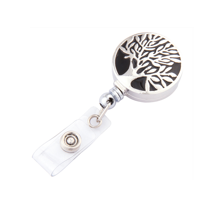 Retractable Pull Badge Reel Jewelry Type ID Card Holder Alloy Belt Recoil Badge Holder