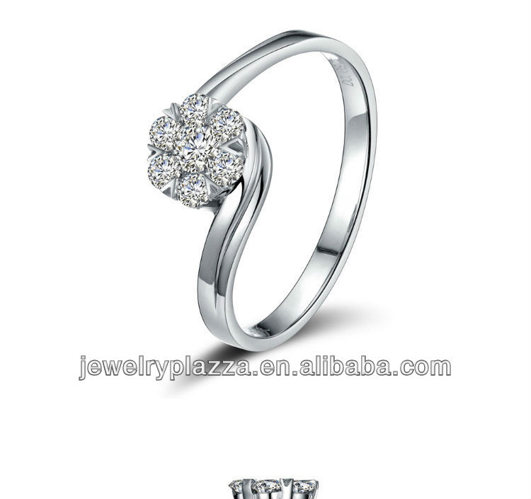 2013 unique fashion Diamond rings,9k white gold rings