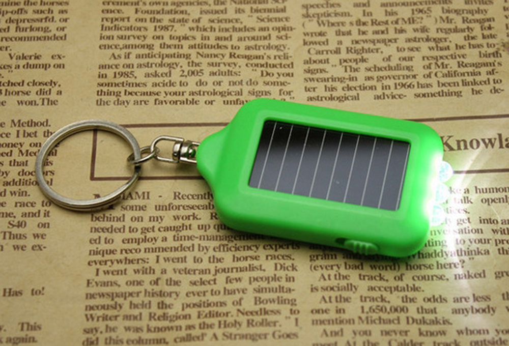 Metal Key Chain Rechargeable Solar Power 3 LED Mini Torch