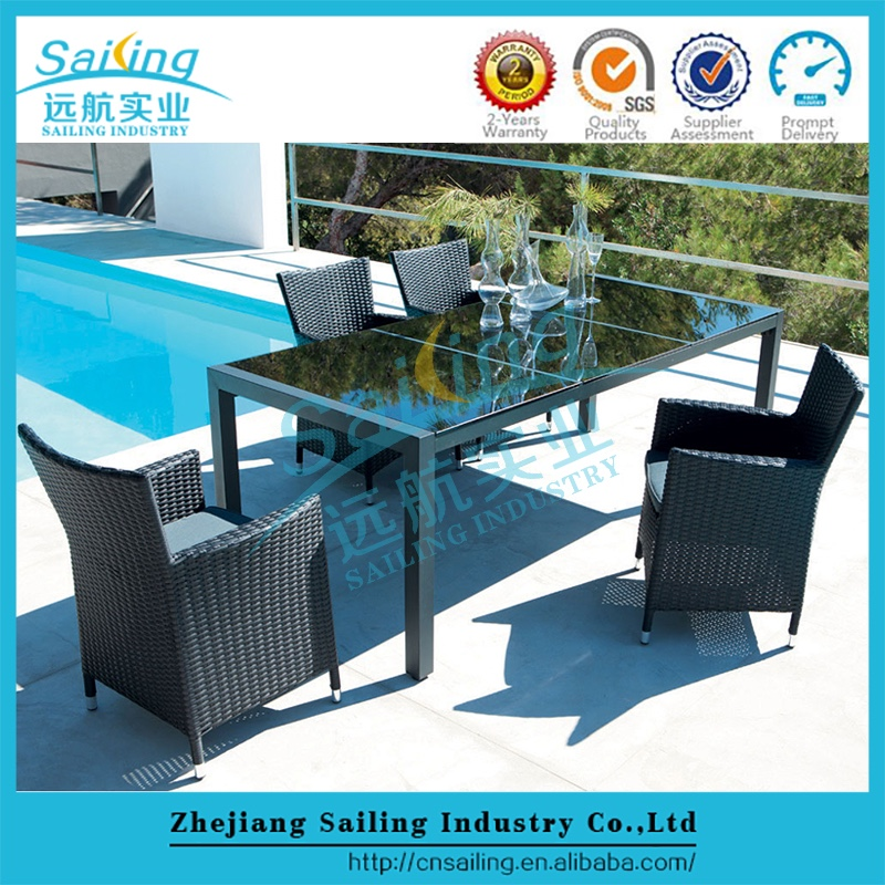 All Weather Hot Sell Rattan Garden Furniture Dining Pool Table
