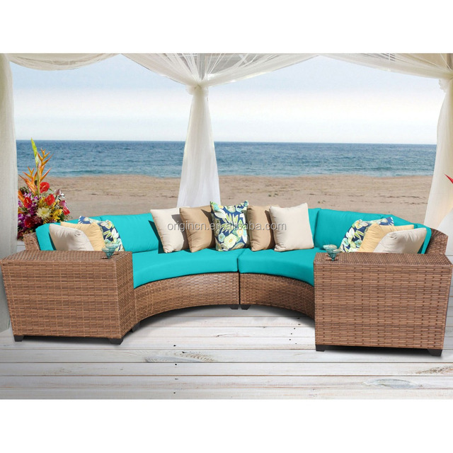 2016 Semi Circle Shaped Patio Sofa And End Table Rattan Wicker Sectional  Wholesale Mexican Furniture