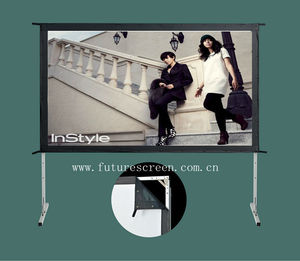 Outdoor adjustable fast fold projection screen with flight case
