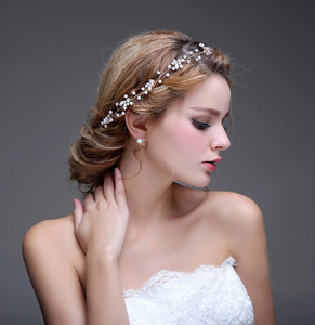 Gold Branch Wedding Headband Tiara Bridal Pearls Hair Jewelry Accessories Party Prom Headpiece for Women
