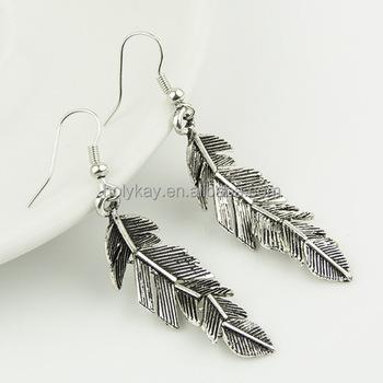 4cef6987e00f De moda de color de plata pluma pendientes 2014 pendientes vogue mujeres  pendientes de acero inoxidable