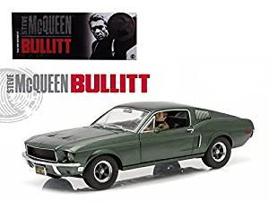 "1968 Ford Mustang GT Fastback ""Bullitt"" Highland Green with Steve Mcqueen Driving Figure 1/18 Model Car by Greenlight"