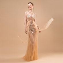 Женское прозрачное Сетчатое платье со стразами, вечернее роскошное платье, праздничное платье на день рождения(Китай)