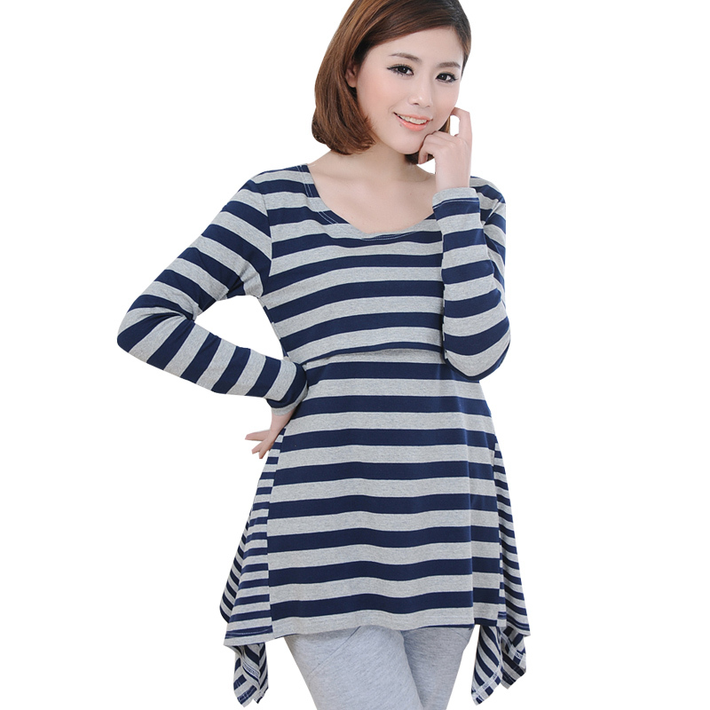 Fall Maternity Nursing Shirt For Pregnant Women Breastfeeding Tops Tees Clothes Pregnancy Mothers Long Sleeve Lactancia Clothing