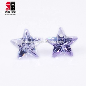 Custom manufacturer price Korea cut loose gemstone star shape lavende cz gems for jewelry
