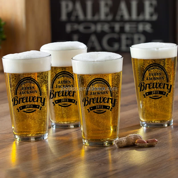 Barware Personalized 16 oz. pint beer glasses