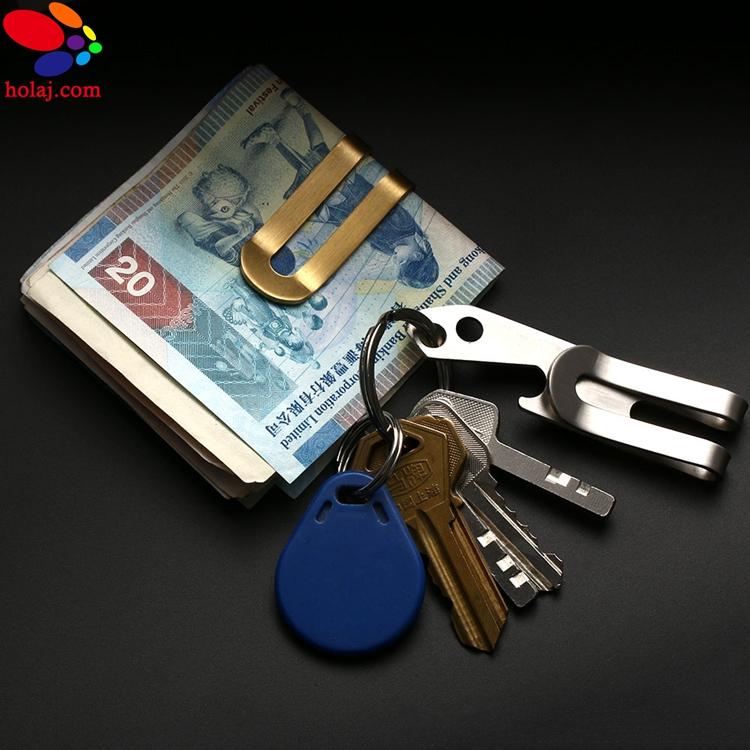 Stainless Steel Multifunction Pocket Money Clip Holder Bottle Opener Key Chain