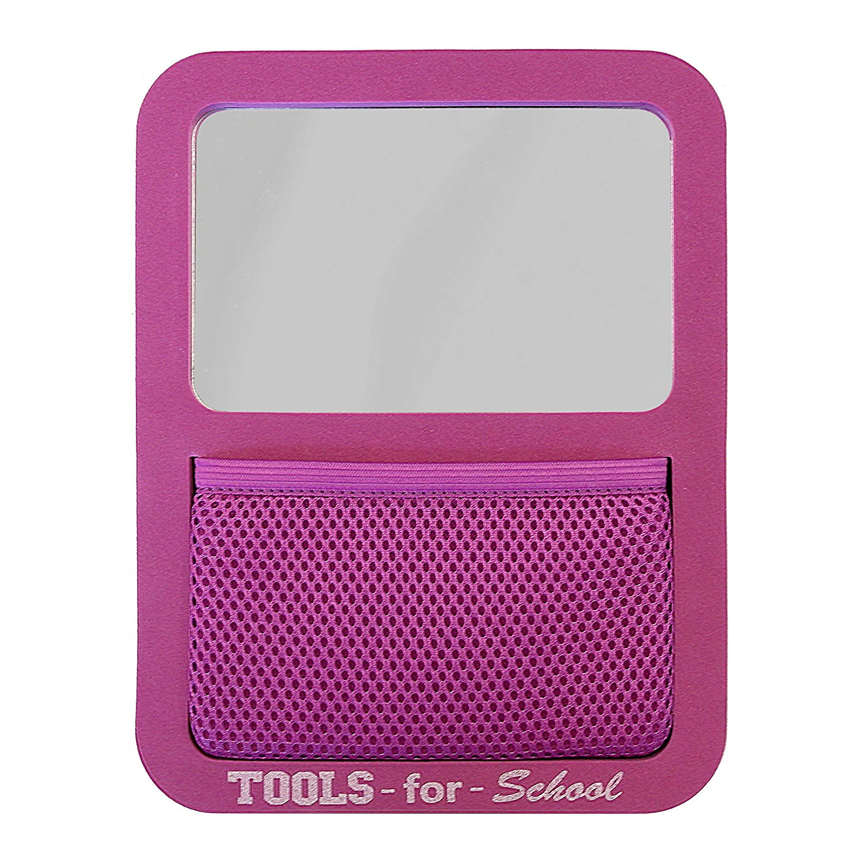 Tools for School Locker Accessories, Magnetic Locker Mirror with Elastic Mesh Pocket Organizer, Magenta