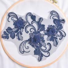 1 шт. 10 цветов 3D вышитый ажурный цветок головной убор платье декоративные аксессуары материал платье ручной работы Золото(Китай)