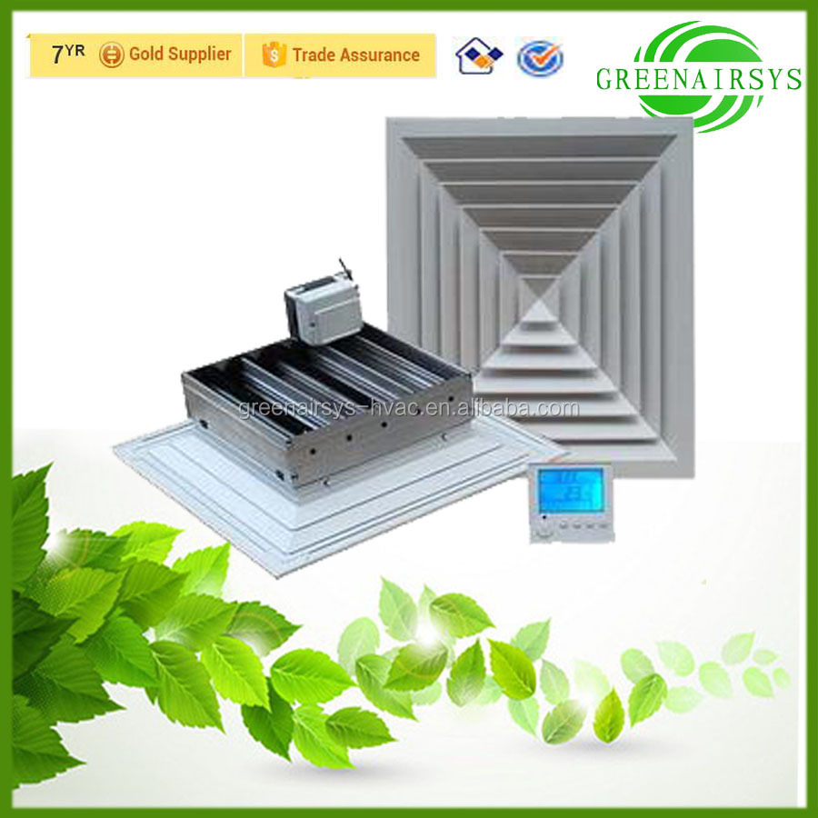 Energy Saving Air Conditioner Automatic Ceiling Square Air Diffuser Equipped with Damper Motors and Thermostat