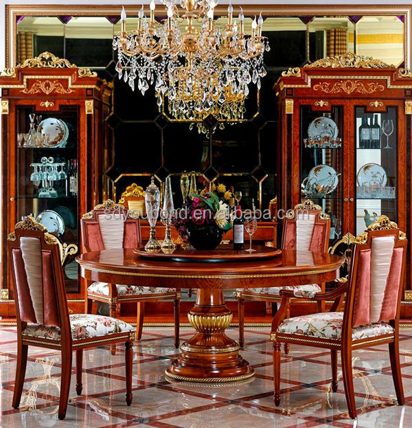 0038 Italian design royal dining room furniture wooden classic table ...