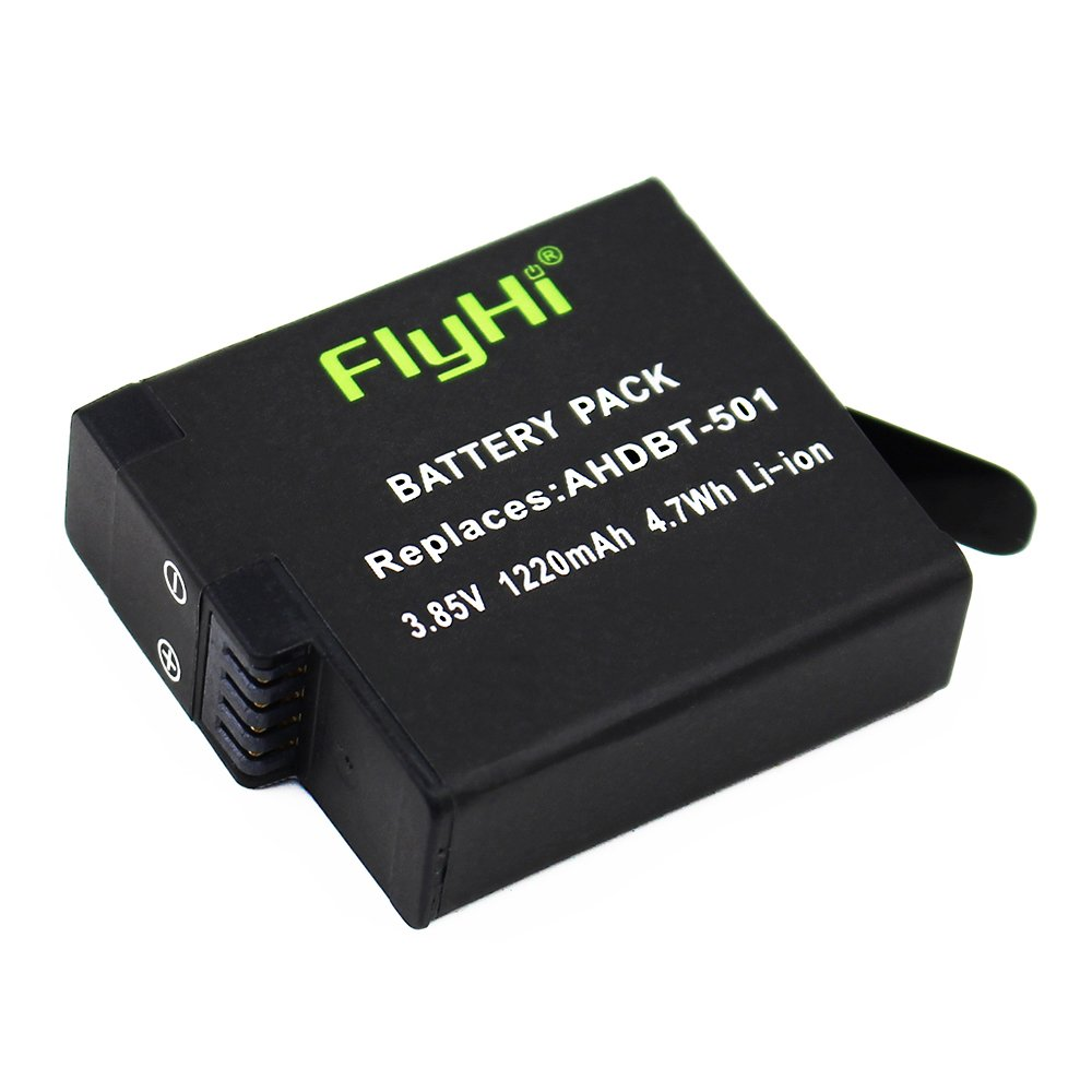 FlyHi Battery (2-Pack) & Rapid 3-Channel Charger for GoPro HERO 6 / HERO 5 Black ( Compatible with Firmware v01.55, v01.57 and v02.00, v02.51, v02.60)