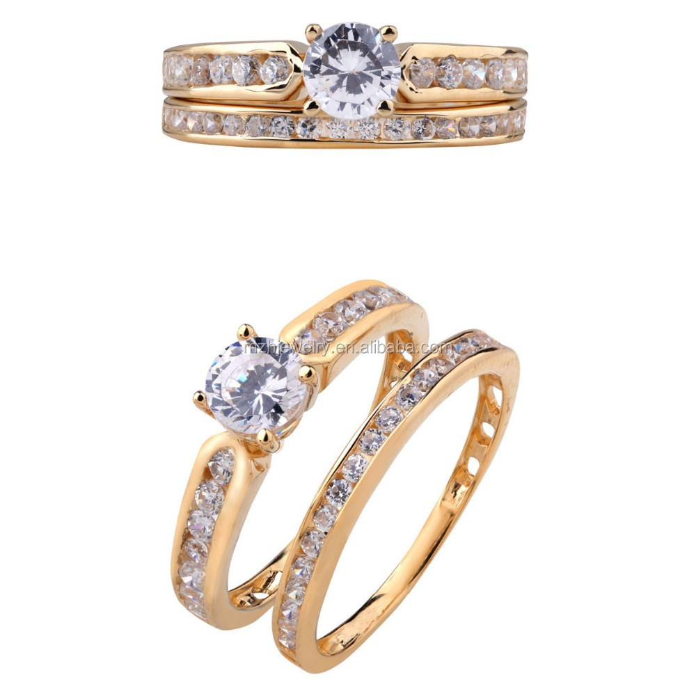 Gold Ring Design For Women 18k Gold Cz Double Ring With Factory ...