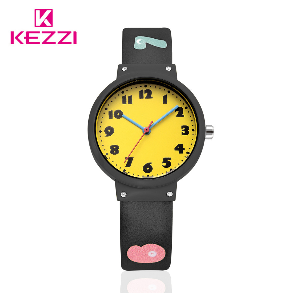 KEZZI Brand Children Watch New Style Kids Girls Boys Cute Cartoon Quartz Watch Lovely Student Leather Casual Watch Clock Gifts