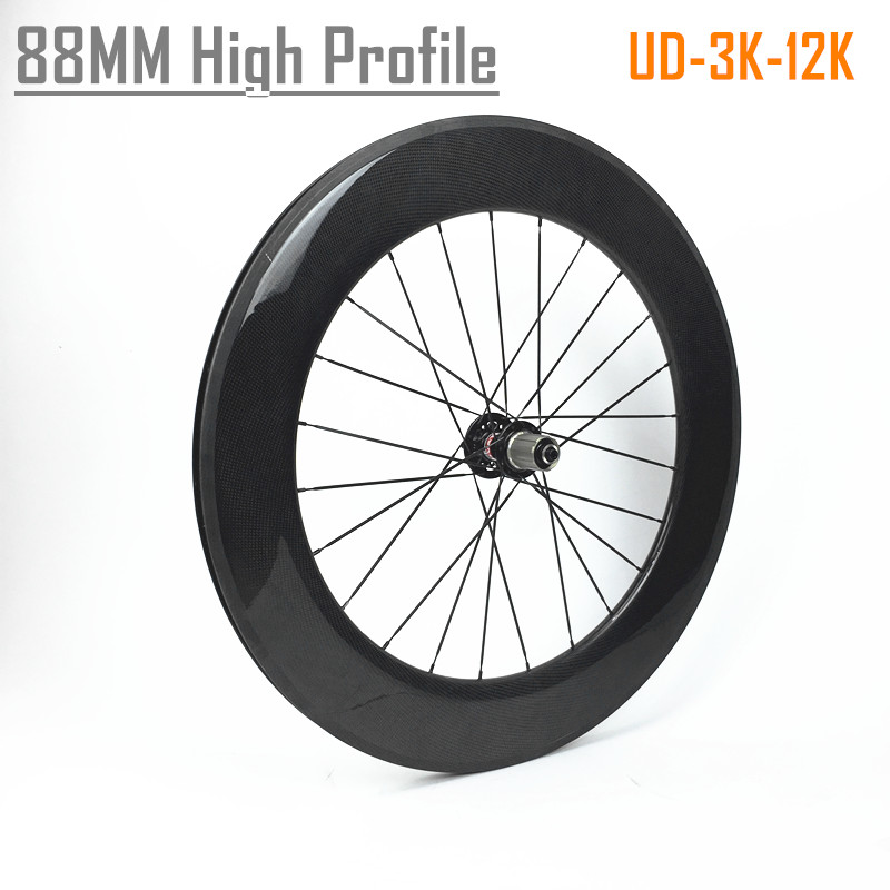 High profile 700C cycling wheels chinese road wheels clincher 88mm carbon track wheels