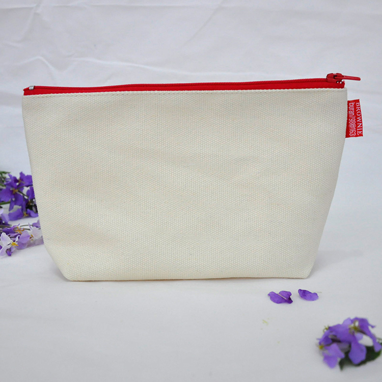 Cosmetic Canvas Pouch with Zipper Top