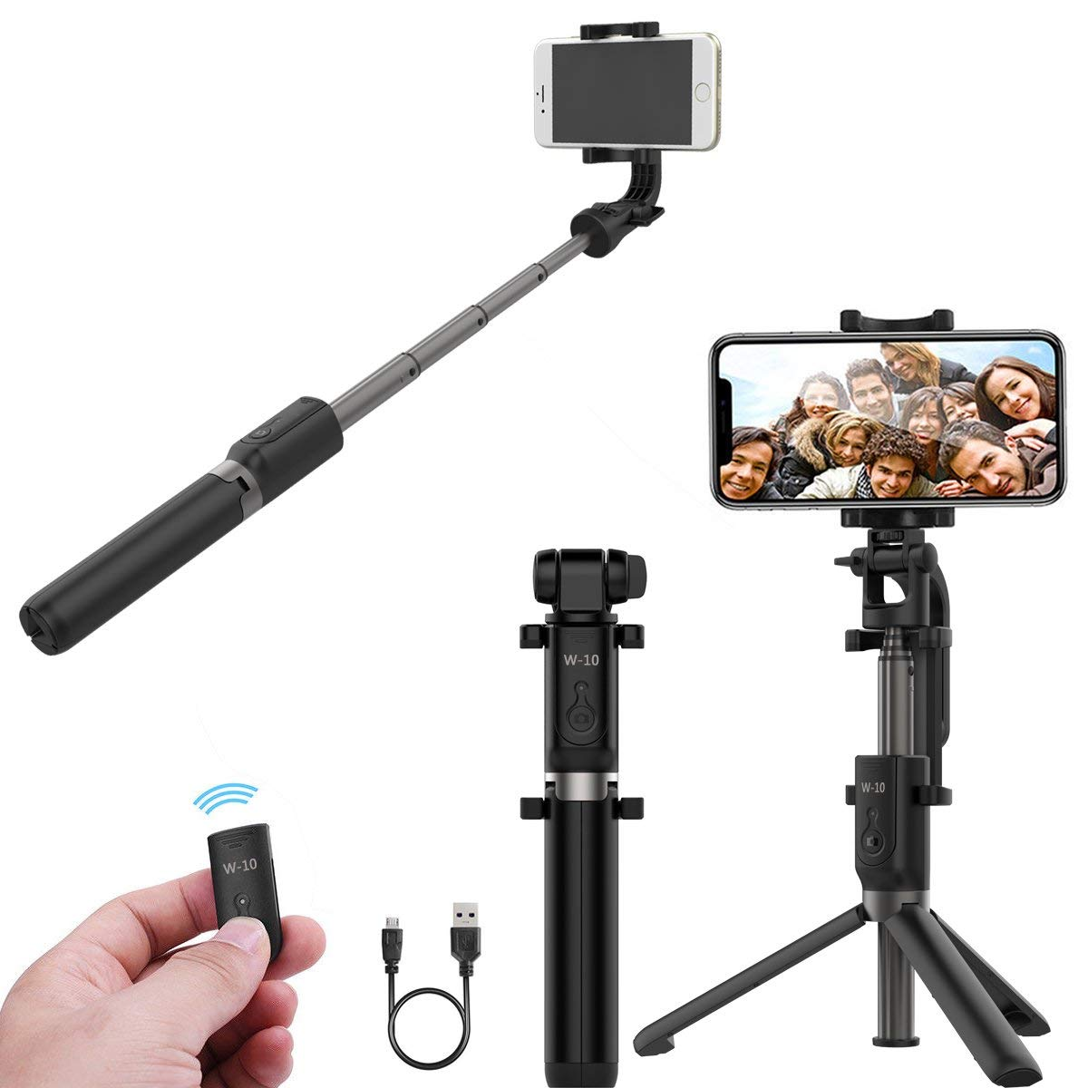 Flames Selfie Stick Bluetooth, Extendable Selfie Stick with Wireless Remote and Tripod Stand Selfie Stick for iPhone X/iPhone 8/8 Plus/iPhone 7/7 Plus/6 Plus/Galaxy S9/S9 Plus/Note 8/S8/(Black)