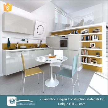Desain Modern Putih Lacquer Dapur Lemari Dengan Rak Buku Di Ruang Makan