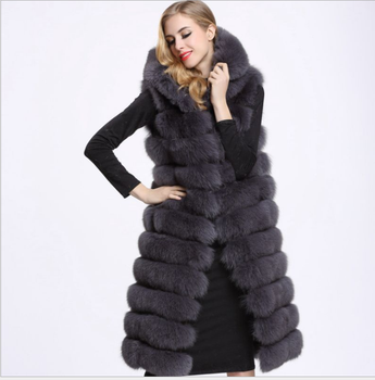 d022729bc7f57 New Fashion Winter Lady Natural Fox Fur Vest Women s Real Genuine Fur  Leather Jacket Overcoat Girl s