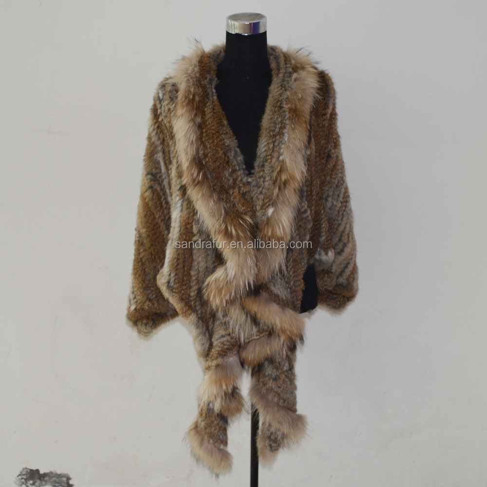 SJ491 S-XXL Big Wild Design Sexy Rabbit Racoon Knitting Fur Coat Jacket